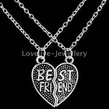Retro Silver 2Pcs Set Carved BEST FRIEND Pendant Necklace Chain Friendship Gift