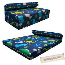 Double Kids Folding Guest Bed Dinosaurs Blue Boys Sofabed Sofa Mattress Sleep