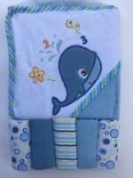 6 Piece Bath Set Baby Boy Infant Hooded Towel Washcloth Blue Whale NEW