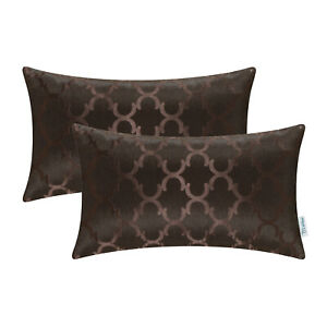 """2Pcs Rectangle Coffee Cushion Covers Pillows Shells Case Accent Geometric 12x20"""""""