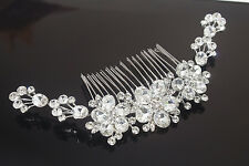 USA seller beautiful wedding bridal flower crystal rhinestone hair comb ha30027