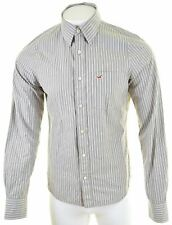 HOLLISTER Mens Shirt Large Grey Striped Cotton Slim Fit  NK19