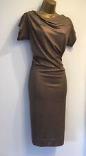 VIVIENNE WESTWOOD Deconstructed Draped Bronze Dress Sz S 8 10 NEW WITH TAGS