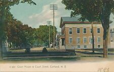 CORTLAND NY – Court House and Court Street Rotograph Postcard – udb (pre 1908)