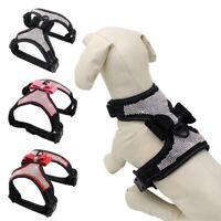Puppy Pet Dog Rhinestone Bling Bowknot Harness Adjustable Reflective Collar Vest