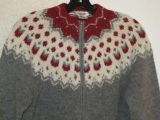 TALBOTS Hand Knit WOOL ZIP FRONT CARDIGAN Sweater - MEDIUM - Excellent