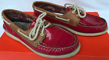 Sperry Top-Sider Billfish 9296047 Slip Red Leather Loafers Boat Shoes Women's 7