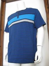 XL Men Tony Hawk Short Sleeve Button T-Shirt Navy Blue Stripe Cotton NWT