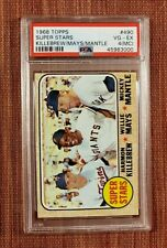 1968 Topps #490 Mickey Mantle Willie Mays Yankees Giants Baseball Card PSA