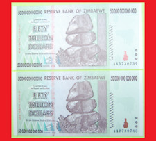 ZIMBABWE 50 TRILLION DOLLARS X2 (100 TRILLION TOTAL) UNCIRCULATED, SEQUENTIAL