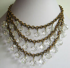 *GLAMOROUS VINTAGE BRASS & FACETED CRYSTAL BAUBLES TRIPLE STRAND BIB NECKLACE*