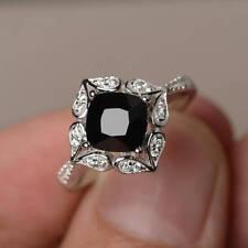 2Ct Cushion Black Onyx Synt Diamond Vintage Engagement Ring White Gold FN Silver