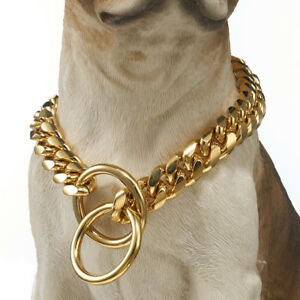 Strong 18K Gold Tone 316L Stainless Steel Dog Chain Collar for Pitbull Rotweiler