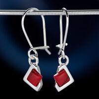 Koralle Silber 925 Ohrringe Damen Schmuck Sterlingsilber H0585