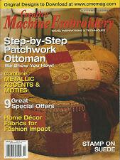 Creative Machine Embroidery Magazine 2004 Patchwork Ottoman Jackets Lampshades