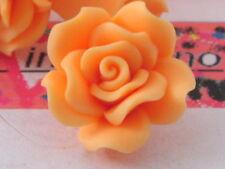 2 centrali rose arancio in gomma acrilica dura  30x15mm