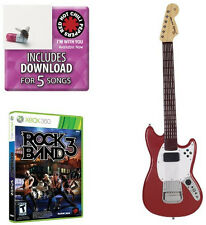 Brand New Xbox Mad Catz Rock Band 3 PRO Guitar Bundle Fender Mustang with DLC