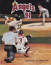 ORIGINAL 1991 OAKLAND ATHLETICS AT CALIFORNIA ANGELS BASEBALL SCORECARD