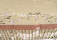 Floral Vine Embroidered Valance Striped Lined Shimmer Fabric 84x16 New