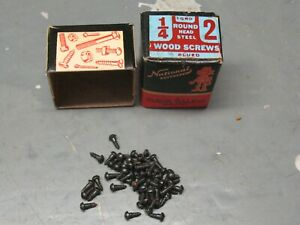NATIONAL  USA 1/4'' ROUND HEAD  STEEL   WOOD SCREWS   BLUED  57  COUNT NOS