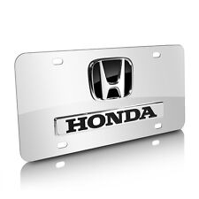 Honda 3D Logo and Name on Chrome Stainless Steel Metal Auto License Plate