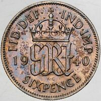 1940 GREAT BRITAIN SIX PENCE SILVER NICE BU UNC COLOR TONED LUSTER (MR)