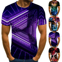 Men's Summer Casual 3D Printed T-Shirt Round Neck Tops Tee Short Sleeve Shirts