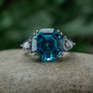 14K White Gold Over 2ct Hexagon cut Blue Topaz Accents Engagement Ring