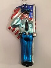 Police Policeman Military Patriotic USA Flag Blown Glass Christmas Ornament New