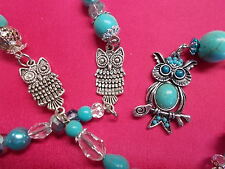 GORGEOUS CRYSTAL SUN CATCHER - TURQUOISE BEADS - CLEAR CRYSTALS OWL 75 cm # 186