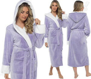 **NEW 2021** LADIES PYJAMA SET // SOFT&COSY HOODED DRESSING GOWN ROBE Size 8-22