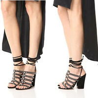 Sergio Rossi Elettra Studded Ankle Tie Sandals Black Suede 6.5, Retail $995