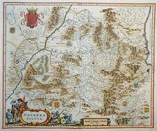 EUROPA SPANIEN NAVARRA PAMPLONA REGNUM WAPPEN KARTUSCHE MIT SOLDATEN BLAEU 1640