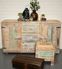 NEW Reclaimed Timber Retro Fridge Vintage Whitewashed Sideboard Cabinet Buffet