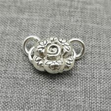 925 Sterling Silver Rose Flower Connectors 3D for Bracelet Necklace