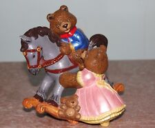 Vintage Teddy Bear on Rocking Horse Ceramic Figurine