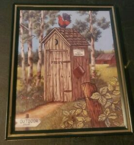 8 X 10 FRAMED PICTURE ROOSTER ON THE OUT HOUSE