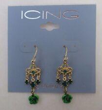 f Gold tone petite Chandelier green dangle flower crystal Earrings claire's