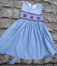 STRASBURG SMOCKED CHEERLEADERS with Pom Poms Chambray BLUE Sleeveless Dress 2 yr