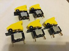 LOT OF 5 APC TOGGLE SWITCH YELLOW UNIVERSAL NOS AIRCRAFT SAFETY COVER US SELLER