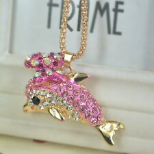TR Dolphin Sweater Bead Necklace Rhinestone Crystal Pendant Christmas Lover Gift