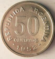 1952 Argentina 50 CENTAVOS - Excellent Coin Argentina Bin