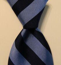ROBERT TALBOTT Men's 100% Silk Necktie USA Designer STRIPED Blue Classic EUC
