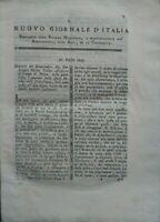 1793 'NUOVO GIORNALE D'ITALIA': RIVISTA SU BOVINI DEL VENETO, ACQUA DI ROBBIA...