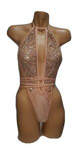 Exotic Dancer Sexy Stripper Nude Gold Sequin Bodysuit OnePiece Gstring