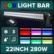 "5D 22""inch 280W RGB LED Light Bar Offroad Halo Ring Flash Strobe Multicolor 23"""