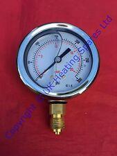 """Oil Filled Pressure Gauge 0-300 PSI, 0-20 Bar 1/4"""" BSP Connection 63mm Dial"""