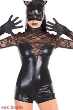 Sexy Costume Cat Woman Wetlook Pizzo+Copricapo Guanti Cosplay Halloween GLAMOUR