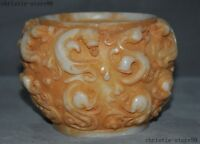 China White jade Carved Antique Long Dragon auspicious statue Tank Crock Pot Jar