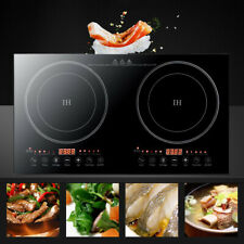 Electric Dual Induction Cooker 2 Burner Cooktop Touch Black Crystal Panel 2400W